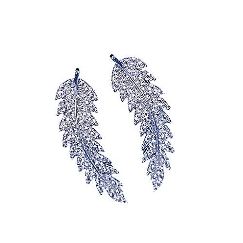 Mingtongli 1 par Diseño de la hoja Zircons Mujeres del pendiente brillante que cuelgan el pendiente de las niñas oído de la joyería, plata
