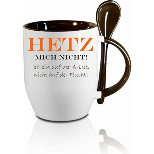 Creativ Deluxe Tasse m. Löffel Hetz Mich Nicht Löffeltasse, Kaffeetasse mit Motiv,Bürotasse, Bedruckte Tasse mit Sprüchen oder Bildern - auch individuelle Gestaltung nach Kundenwunsch