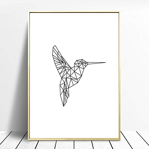 N / A Poster and printmaking Geometric Bird Wall Art Canvas Painting Minimalist Wall Picture for Living Room Home Decoration Frameless 30x40cm