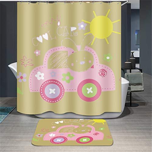 Baisheng Duschvorhang, wasserdicht, schimmelresistent, waschbar, 3D-Vorhang, schimmelresistent, Pink Cartoon Printing Car, 78 * 70Inch/200 * 180cm