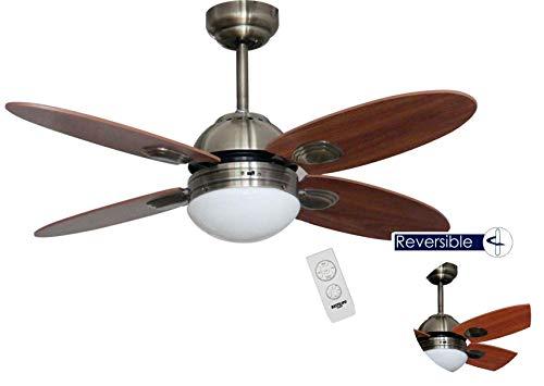 Bastilipo Ventilador Techo con Mando A Distancia E27, 60 W, Cuero, 105 X 41 cm
