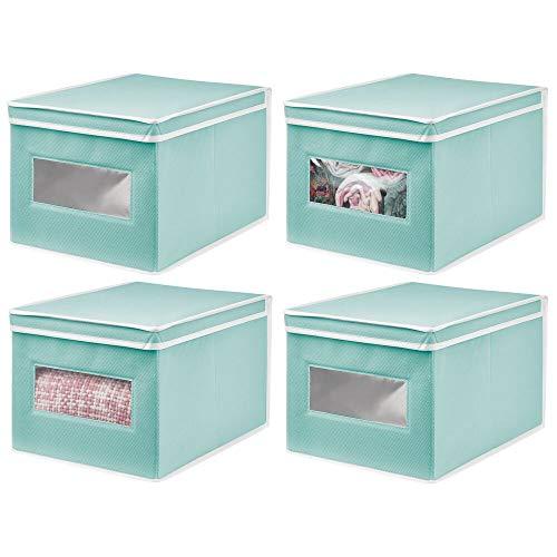 mDesign Juego de 4 Cajas de Tela – Práctico Organizador de armarios con Tapa para Dormitorio, salón o baño – Caja de almacenaje apilable de Fibra sintética Transpirable – Turquesa/Blanco