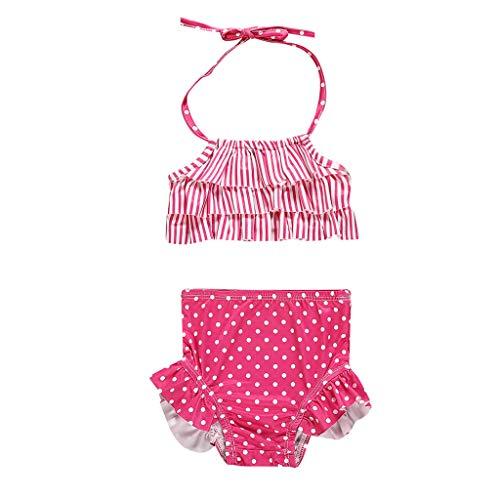 VECDY Bañador Niña, Moda Suave Bikini 2019 2 Piezas Linda Ropa Tops Monokini para Bebé Rayas Punto Imprimir Chaleco Traje De Baño Conjuntos Verano Natacion Playa Bohemia Bañadores (Hot Rosa,110)