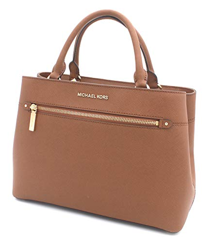 Saffiano leather; Magnetic flap closure Accented with gold tone hardware and feet; Comes with adjustable, detachable shoulder strap Interior fully lined with 2 compartments separated by a zippered pouch Interior has 5 slip and 1 zippered pockets; Ext...