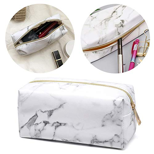 Ziyero Bolsa de textura de mármol de papelería para estudiantes caja de lápices de mármol blanco cuero de PU También se puede usar como bolsa de cosméticos, bolsa de herramientas de oficina, blanco