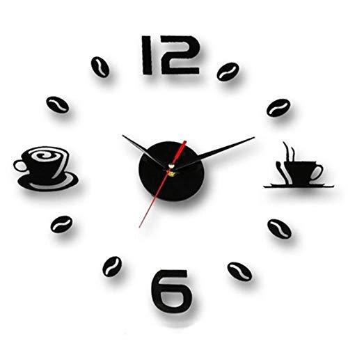 Preisvergleich Produktbild TOPmountain DIY Wanduhr,  3D Spiegel Aufkleber große Wanduhr,  rahmenlose Moderne stille Uhr für Zuhause / Büro / Schule,  Anzahl Clock Dekorationen