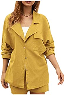TT WARE Casual Solid Color Turn Down Collar Button Long Sleeve Blouse-Yellow -2XL