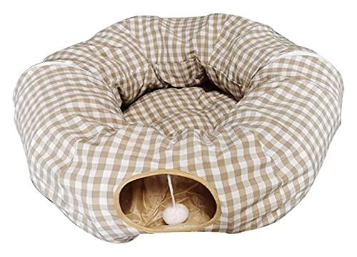 Letto Cat base del gatto, il tubo del gatto e del tunnel centrale con tappetino for cani gatti, pieghevole, di luna piena, con manopole in pelliccia, morbido e confortevole, 250 centimetri Langer for