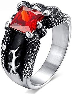 خاتم كبير الحجم التنين مخلب الحجر الأحمر الرجال خمر ترصيع مجوهرات خمر الدائري