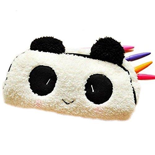 SAMGU Cute Panda Peluche Douce Crayon Pen Case Sac de Maquillage cosmétique Sac Pochette Porte-Monnaie Couleur Blanc