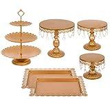 Hopopula 6 Set Gold Tortenständer Hochzeitstorte Platte Kuchen Cup Pan Korb CupcakeHalter mit Anhänger und Perlen Stand Gebäck Halter für Hochzeit Geburtstag Party