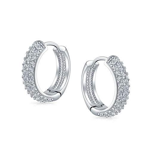 Matrimonio di moda nuziale 3 tre file cubico Zirconia Pave CZ Endless Huggie Orecchini cerchio per le donne incernierato argento placcato .65 pollici di diametro