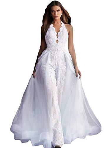 The Peachess Women's Jumpsuits Prom Dresses Lace Appliques Evening Gowns Detachable Train Pants Suit Party Wear White