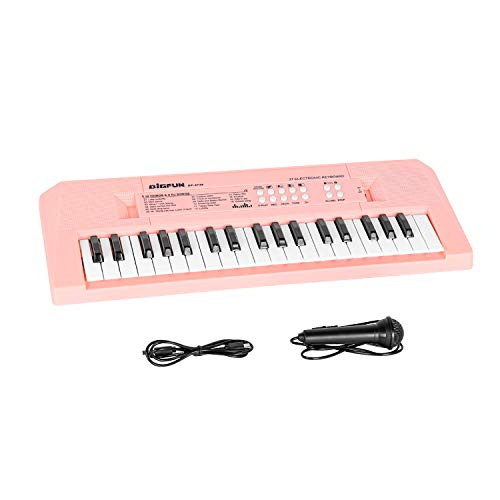 M SANMERSEN Piano Keyboard with Microphone, Portable Music Piano for Girls Electronic Keyboards Toy with 16 Demos/ 4 Drums / Rhythms 37 Keys Musical Pianos Toys for Kids