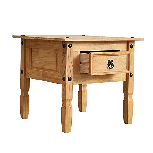 Solid Pine Wood 1 Drawer Lamp Table Mexican Style Sofa Side End Table Rectangular Bedside Cabinet for Living Room W 59 x D 59 x H 53cm