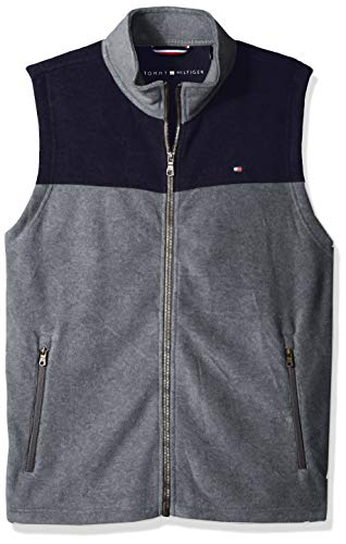 Tommy Hilfiger Men's Polar Fleece Vest, Navy/Light Grey, Large