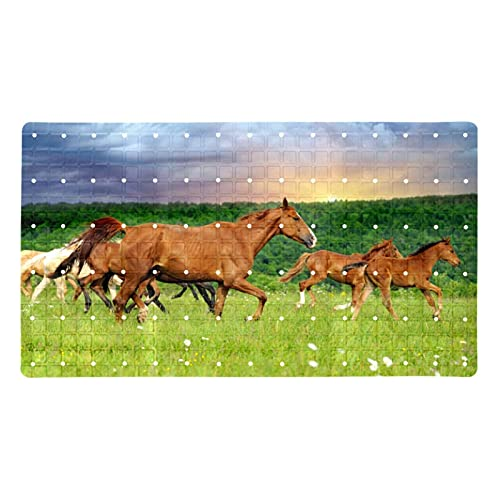 Bath Mat Non-Slip Running Brown Horse Suction Cups Best Durable and Stylish in Bath Mats Anti-Slip Shower Mat with Modern Design Quality Suction Cups 15.7x27.9 in