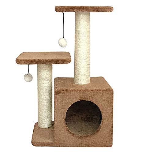 Pet Cat Tree Tiger Tough Cat Tree House Condominio Gancho, Mueble para Patio de Juegos para gatosTech, Varios Niveles, Seguro para árbol de Gato con Postes de rascado (Color : Brown)