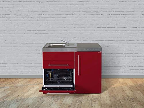 Stengel Miniküche Premiumline MPGS 110 Singleküche mit Kühlschrank, Spülmaschine und Glaskeramikkochfeld, Pantryküche, Singleküche - Farbe: bordeauxrot/Breite: 110cm