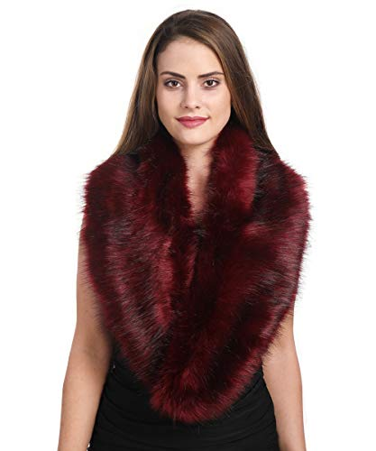 Lucky Leaf Women's Winter Fake Faux Fur Stole Scarf Wrap Collar Shawl Shrug for Wedding Evening Party (Burgundy)