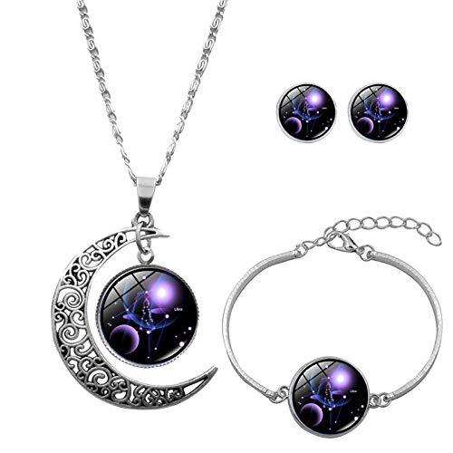 Collar de 12 constelaciones de la luna con cadena creativa, collares Eilecentyhzm, colgante, pendientes, pulsera, regalo para mamá, colgante de luna plateado, joyas (set de joyas Libra)
