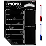 """Magnetic Blackboard Calendar for Refrigerator, Dry Erase Black Board Meal Menu Planner Organizer with Weekly Planning List, 11"""" x 12"""" Dry Erase Calendar Board for Wall,2 Colored Markers"""