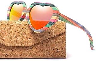 77eea69fc1 Zbertx Moda Corazón Gafas de Sol Diseñador Mujeres Madera Bambú Gafas de Sol  Hombres Polarizado Pink