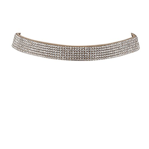 Lux Accessories 6 Row Crystal Pave Rhinestone Tan Suede Choker