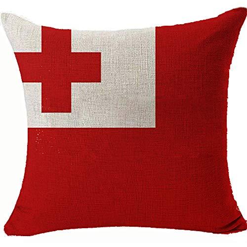 Kissenbezug, Motiv: Flagge von Tonga, 45 x 45 cm, beidseitig beweglich, 45 x 45 cm, Farbe: Tonga