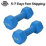 US Fast Shipment Set of 2 Neoprene Dumbbells Coated for Non-Slip...
