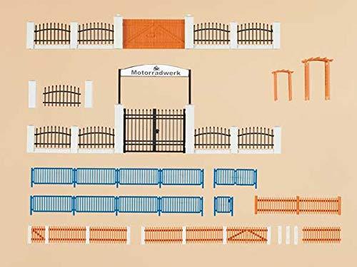 Auhagen 42648.0 - hekken met poorten, totale lengte 1200 mm, kleurrijk