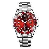 Orologio da uomo 40 mm verde acqua fantasma orologio calendario cinturino in acciaio orologio al quarzo di alta qualità per gli uomini (colore: rosso)