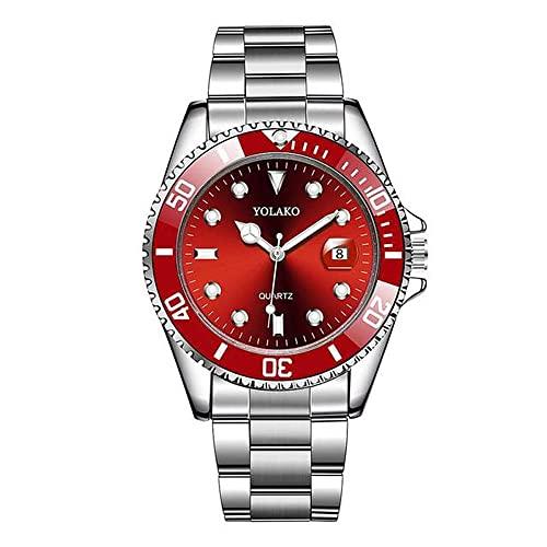 Reloj para hombre de 40 mm con diseño de fantasma de agua verde, banda de acero, relojes de cuarzo de alto grado para hombres (color: rojo)