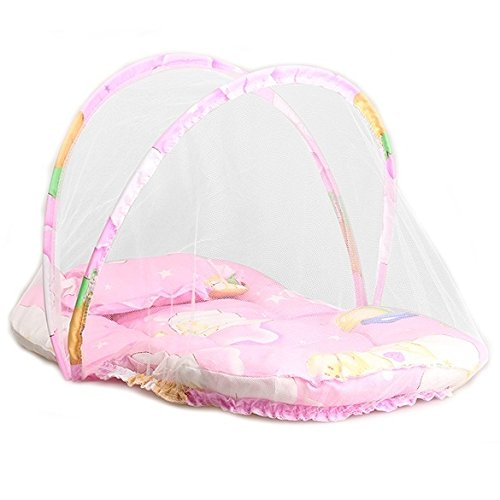 Cama plegable para bebés y niños, portátil, con cremallera para cuna, mosquitera y cojín de dormir, plegable., Rosa, talla única