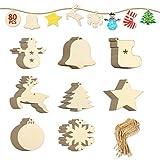 EKKONG Ciondolo Legno Natale, 80 Pezzi Decorazioni Albero di Natale Legno Ornamenti per Alberi di Natale per Decorazione della Festa di Natale a Casa, Artigianato Fai-da-Te (80 Pezzi)