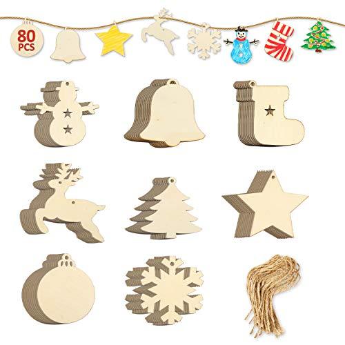 EKKONG Tannenschmuck Holz, Weihnachtsanhänger 80 Stücke basteln Weihnachten Tannenschmuck deko DIY Holz anhänger Baum Geschenkanhänger Holz Scrapbooking Elch Schneeflocke zum selbst bemalen