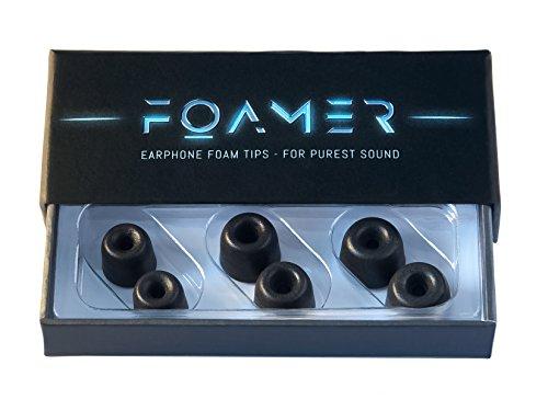 FOAMER F4.0 (S/M/L 3) • 3 Paar Noise Cancelling Schaum Ohrpolster für In Ear Kopfhörer • Ersatz für Silikon Ohrhörer Aufsatz • Extra Bass & Klarer Klang • InEar Ohrstöpsel, Memory Foam Earphone Tips