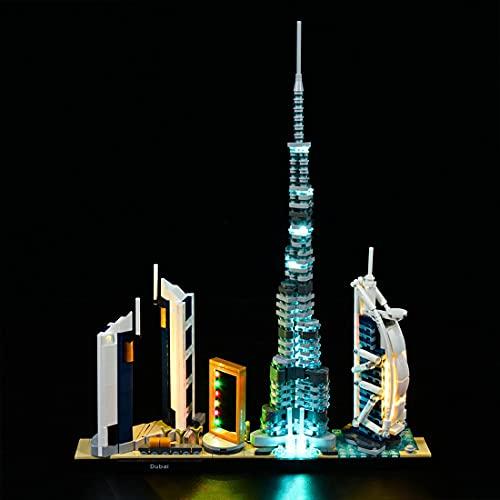 HYMAN LED Beleuchtung Set mit Batteriekasten, Dekorations Licht für Architecture Dubai Skyline-Kollektion, Kompatibel mit Lego 21052 (Kein Lego Modell)