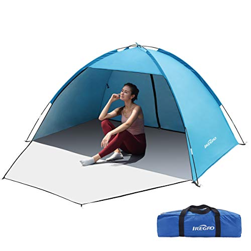 IREGRO Beach Tent,Portable Camping Tent for 3-5 Person Anti-UV 50+ Sun Shade with Extended Zippered Porch for Family Kids Baby Outdoor Picnic,Beach, Garden, Camping, Fishing (blue)