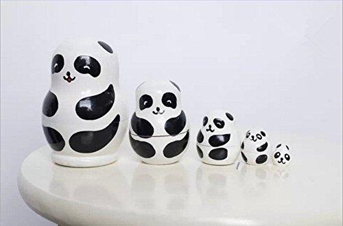 LIFECART Set of 5 Handmade Wooden Nesting Dolls Matryoshka Animal Russian Doll Gifts Toy Home Decoration - Panda by LIFECART