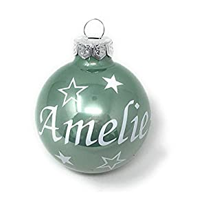 Weihnachtskugel mit Name aus Glas 6cm Wunschtext Salbei Glänzend