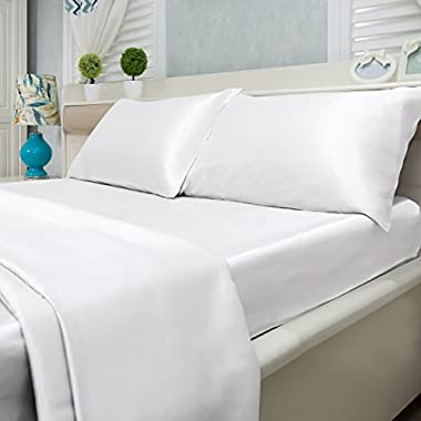 Natural Life Home 4 Piece Satin Sheet Set, Queen, White