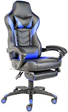 KYK C-Type Foldable Nylon Foot Racing Chair with Footrest Black & Blue Racing Chair Foldable Office Swivel Chair (Color : ...