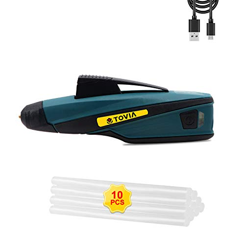 """T TOVIA Cordless Hot Glue Gun Rechargeable USB, Wireless Lithium Ion Battery Operated Hot Melt Glue Pen with 10pcs Glue Sticks (0.27"""" x 5.9"""") for Arts and Crafts, Home Repairs"""