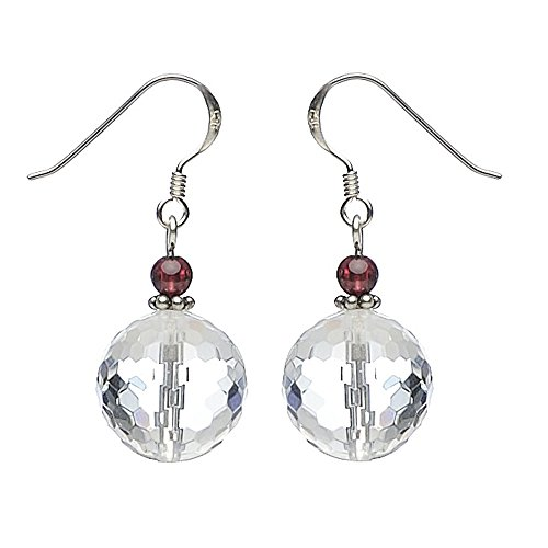 Ohrringe Ohrhänger aus Bergkristall & Granat 925 Silber Ohrschmuck für Damen