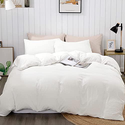 "BEDELITE Duvet Cover Queen Size, White Duvet Cover, Soft Full Comforter Cover with Zipper Closure - 3 Pieces (1 Duvet Cover 90""x90""+ 2 Pillow Shams)"