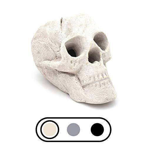 OSKER Ceramic Fireproof Fire Pit Skull Log for Bonfire, Campfire, Fireplace, Firepit | for Gas, Propane, or Wood Fires | 9 Inch - Light Beige