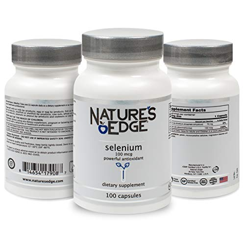 Nature's Edge® Selenium Supplement (100 mcg) Anti-Aging Antioxidants and Thyroid Support   Pure, All-Natural Ingredients   Non-GMO, Soy & Gluten Free   Men, Women