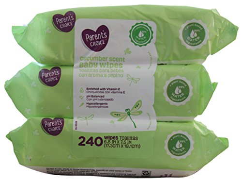 Parent's Choice Baby Wipes Value Pack Cucumber 240 Count