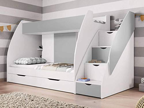 Checo Ltd BUNK BEDS, OPTIONAL 2x NEW BONNELL MATTRESS !! WITH DRAWERS AND STORAGE IN GRAY (Without Mattresses)